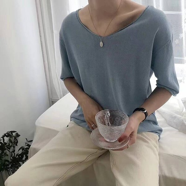 Summer Thin Basic Oversize Shirt For Women Top Tees Short Sleeve V-neck Casual Knit T-shirts Knitwear Basic Big Solid C19041001