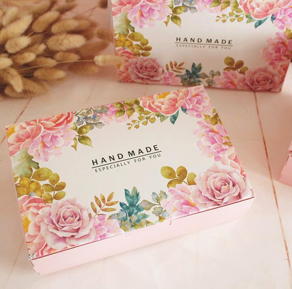 20pcs/lot Hand Make Gift Packing Box Flower Printed Dessert Paper Box Candy Biscuit Package Boxes Bakery Gift Packing Supply