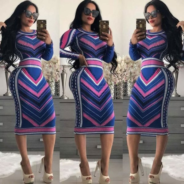 2019 Femmes Casual O-cou Imprimer À Manches Longues Moulante Party Robe Longue Dames Sexy Rayé Clubwear Robes