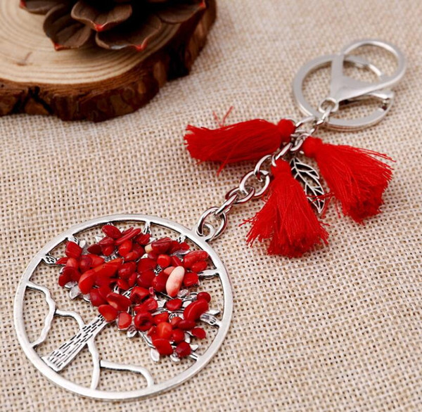 New Arrival Natural Gravel Life Tree Tassel Keychains Pendant Key Ring Jewelry 9 colors For Party Gift DHL free
