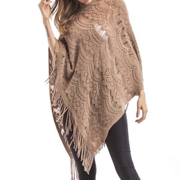 2018 Sweaters Women's Tassel Cloaks Large-size High Street O-neck Sleeveless Tassel Women Sweaters