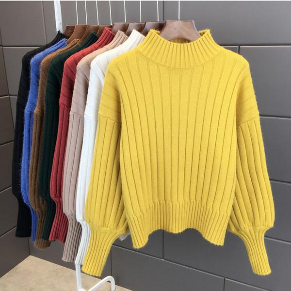 Lanterna manica maglione dolcevita donne Pullover maglia Womens Maglioni Ponticelli signore femminile maglione invernale Top Truien Dames Y200116