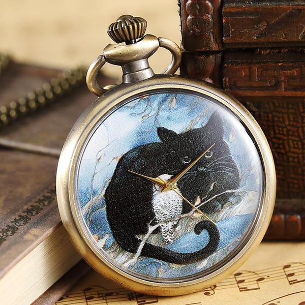 Vintage Owl Et Chat Motif Peinture Montre De Poche Hommes Femmes Collier Chaîne Élégant Pendentif Bronze Analogique Quartz Mâle Horloge Montre