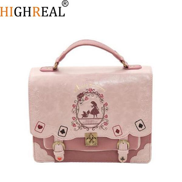 Alice In Wonderland Shoulder Bags Axes Femme Vintage Student Schoolbag Playing Cards Silhouette Handbag Leather Bag J212 J190513