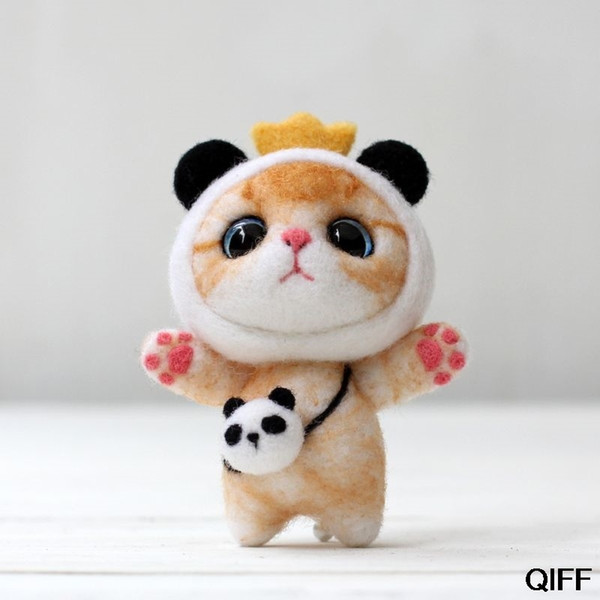 Drop ship&Wholesale Cat Doll With Panda Wool Felt Craft DIY Non Finished Poked Set Kit For Needle Material Bag Pack May06