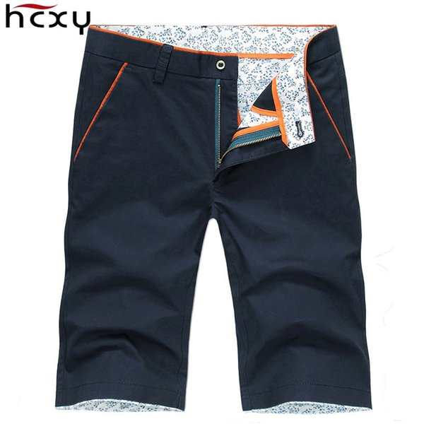 Hcxy 2019 Summer Men's Casual Shorts Men Full Cotton Slim Bermuda Masculina Shorts Male Short Solid Color Knee Length Size 38 Y19062201