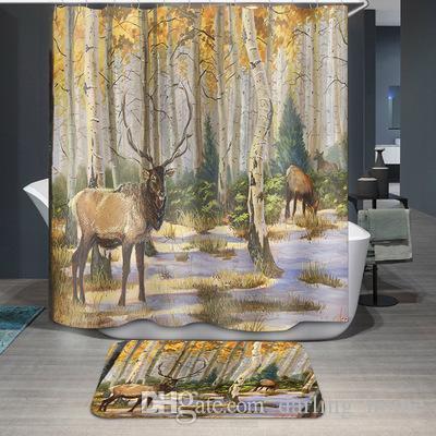 New 5 Designs Waterproof Forest Deer Cartoon Bathroom Accessories Curtain for Living Room Bedroom Windows Luxury Home Decor
