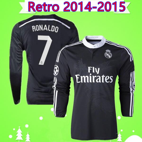 Роналду Бензема Isco с длинным рукавом 2014 2015 Реал Мадрид ретро футболка 14 15 старинные третья черная футболка Китайский дракон