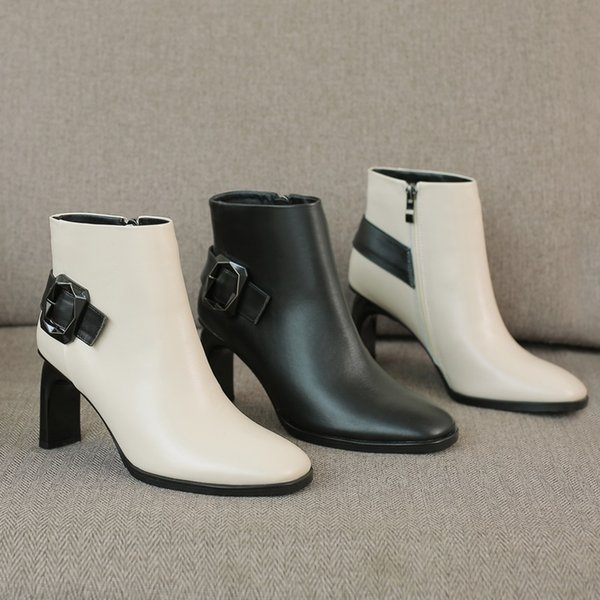 Hot Sale-ZVQ high quaity genuine leather ankle boots winter outside warm high heels zip square toe women shoes drop shipping size 34-43