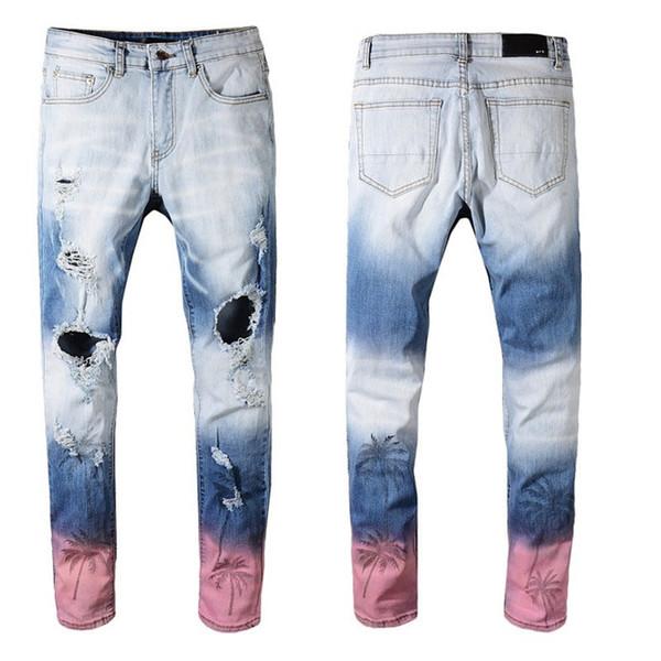 top popular 2019 Arm Mens Distressed Ripped Biker Jeans Slim Fit Motorcycle Biker Denim For Men Fashion Designer Hip Hop Mens Jeans Good Quality 2019