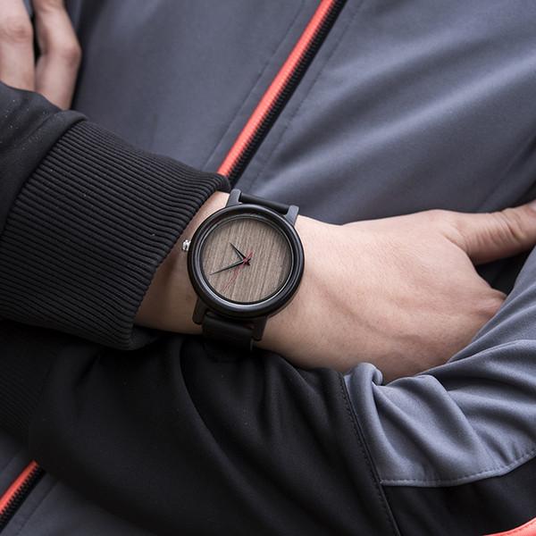 DODO DEER Ebony Wood Lover Couple Watches Men Ladies Wristwatch Women Quartz Leather Belt Male bayan kol saati Gift oem DIY B18