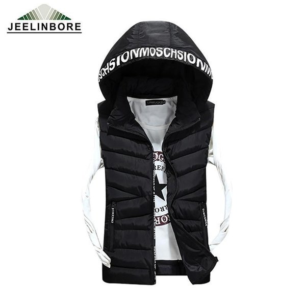 Nice Pop Sale Loves Brand Pop Vogue Slim Man Vest Nice Autumn Winters Hooded Cotton Padded Mens Fashion Vests 2 Colors 6 Size