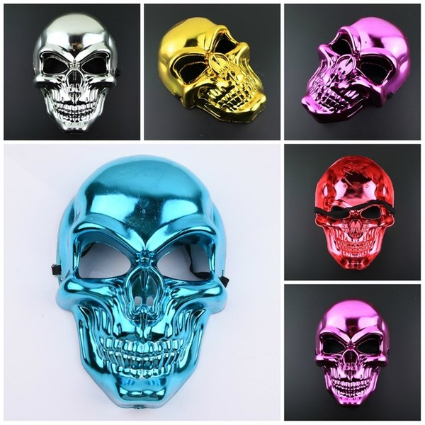 Hot Six colors Halloween Horror mask Christmas electroplate mask funny face mask party gift party decoration T3I5596