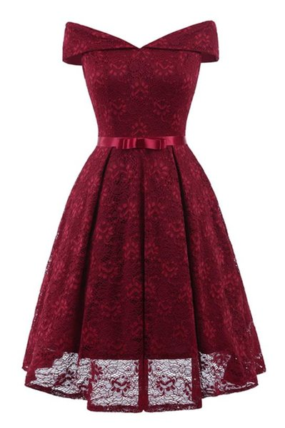 8 Color Women Midi Homecoming Dress Lace Hollow Out Slash Neck A Line Sleeveless Ball Gown Girls Graduation Party Evening Dress DHL Free