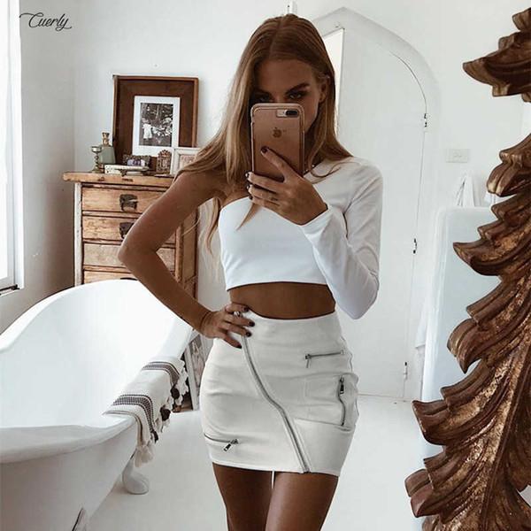 Pu verano de las mujeres faldas atractivas de la cremallera Bolsillos remiendo falda de moda Slim Fit Streetwear Hip cuero blanco Sólido una línea mini