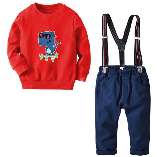 Cotton boys designer clothes 18 24 months boys Clothing Sets kids designer clothes boys Suit Sweater+ suspender trousers Boy Suit A2428