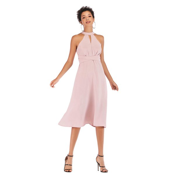 2019 Summer Pink Halter Neck Straps Waist A-line Sleeveless Sweet dress Aerial Chiffon Casual Party One-piece Dress Skirt