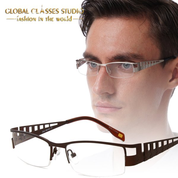 Business Männer Retro Vintage Metall Halbrand Brillen Brillen Schwarz Braun Grau Silber mit Federscharnier SM4019
