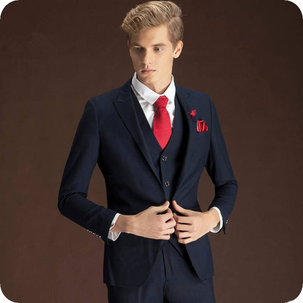 Custom Made Blue Hommes Costumes De Mariage Tuxedo Groom Porter Porter Le Revers En Pointe Mince Meilleur Homme Blazer Veste 3 Pièce Groomsmen Costumes Costume Homme
