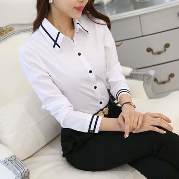 good quality OL Work Wear White Blue Blouse Plus Size Long Sleeve Turn-down Collar Formal Elegant Female Shirt Ladies Tops School