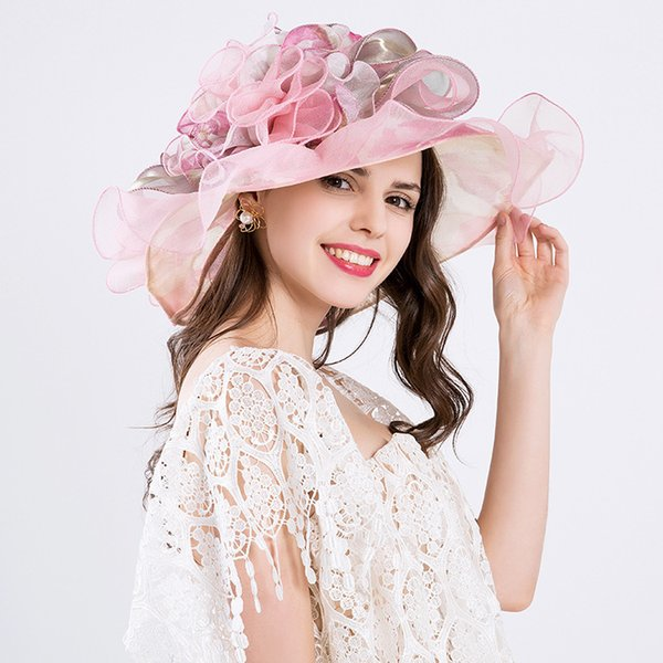 Wedding Hat Summer Organza Sun Hats For Women Elegant Laides Church Vintage Hat Wide Large Brim With Flower Defence Ultraviolet