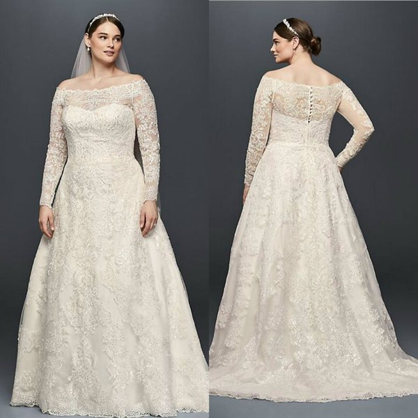 Discount 2019 Oleg Cassini Plus Size Wedding Dresses Beads Lace A Line  Sweep Train Off The Shoulder Boho Wedding Dress Long Country Bridal Gowns  ...
