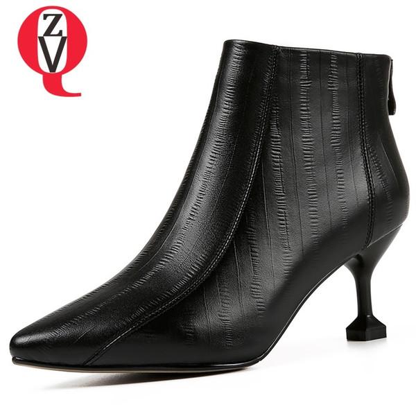 ZVQ kadın ayakkabı 2018 kış sıcak yeni moda seksi yüksek ince topuklu hakiki deri çizmeler sivri burun zip siyah bej ayak bileği çizmeler