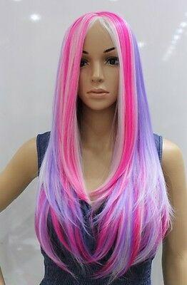 Envío gratis NUEVA Rainbow Multicolor color mezclado Moda Elegante tipo pelucas rectas largas