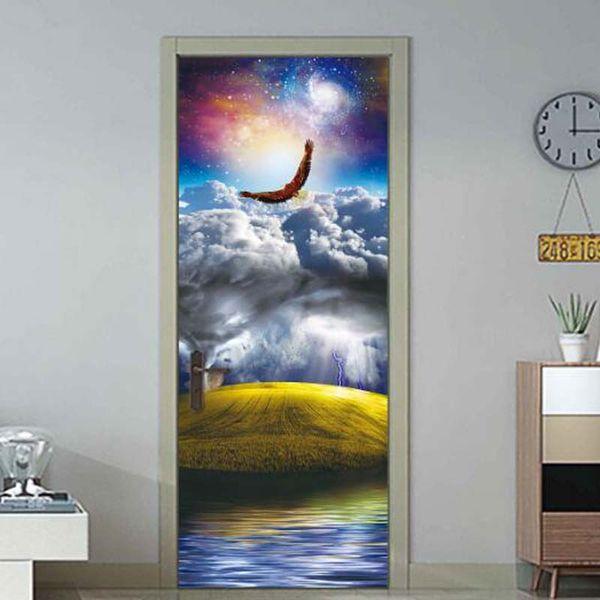 3D Landscape Painting Door Sticker Furniture Wallpaper Living Room DIY Mural PVC Waterproof Self adhesive Art Wall Sticker