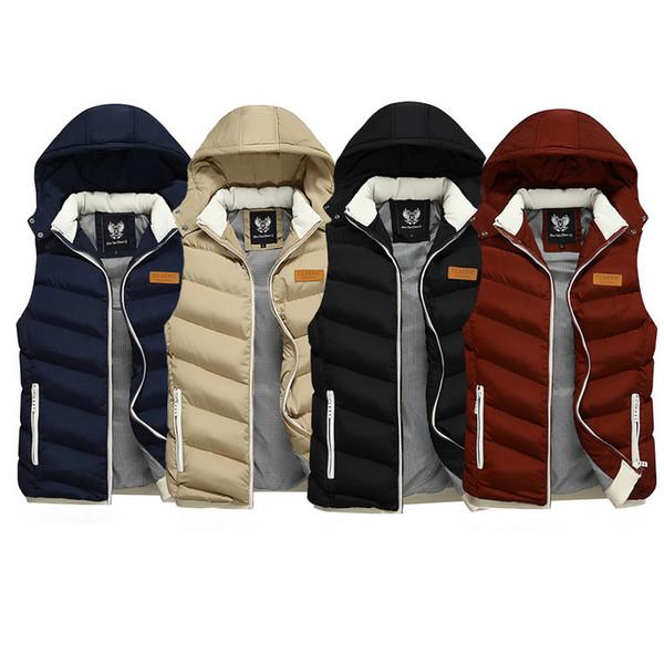 Coreano Estilo Moda Inverno Men Vest com capuz Casacos Casacos Casual espessura quente casacos sem manga Homens britânica Classical Parka Homme