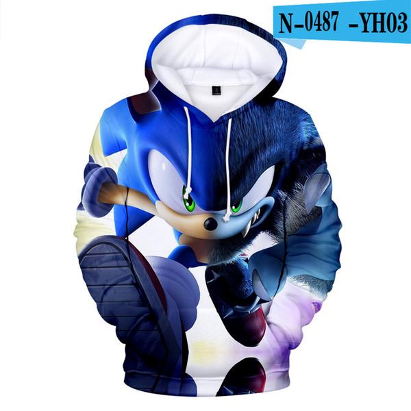 Sıcak satış Sonic Kirpi 3D baskı çocuklarda Sonbahar Hoodies kazak sonbahar sıcak Rahat Harajuku yüksek kalite Artı Boyutu 3D Hoodie