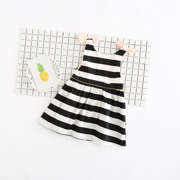 Girls Braces Skirt Striped Vest Dress with Bow Backless Summer Suspender Dresses Cotton Ruffled Dress 2-6T