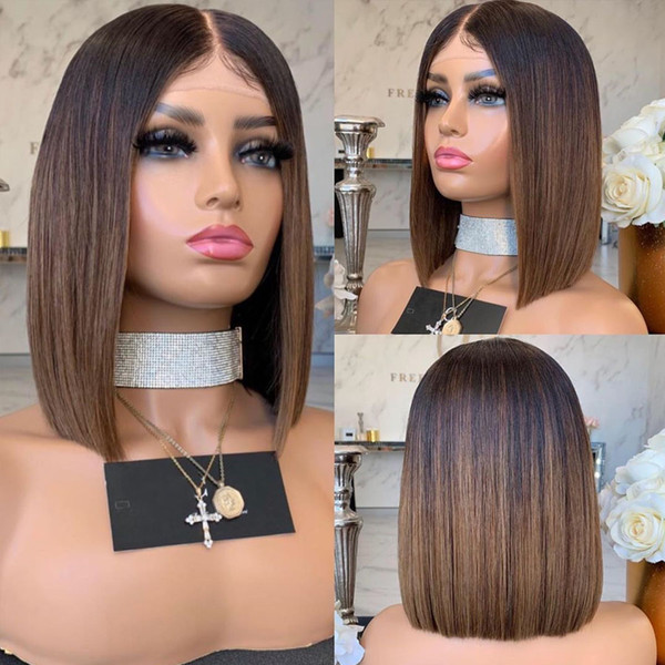 ombre short bob full lace human hair wigs with baby hair brazilian 150density ombre full lace wigs pre plucked natural hairline - from $108.89
