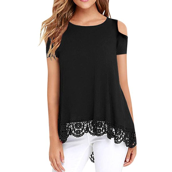 Womens Tops and Blouses 2019 Fashion Lace Blouse off shoulder top Blouse Tunic Shirt Top summer short sleeve Blusas Femininas