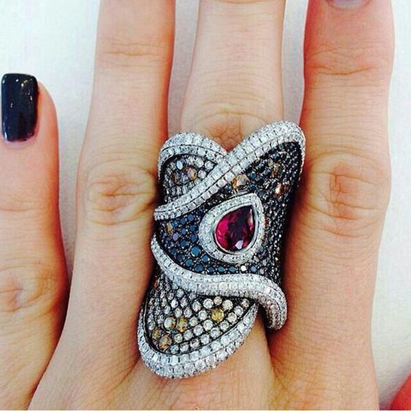 Vintage anneaux géométriques tordus pour femmes noir perlé anneau élégant ethnique goutte d'eau rouge cristal CZ hommes bague bijoux O3M101