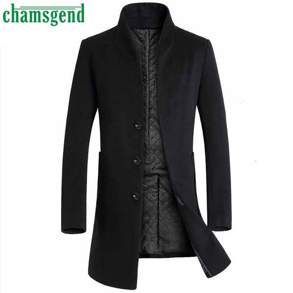 Chamsgend 2018 Nouvel Automne Hiver Chaud Manteau De Laine Hommes Longs Manteaux De Laine Hommes Couleur Pure Casual Mode Vestes Homme Manteau # 40