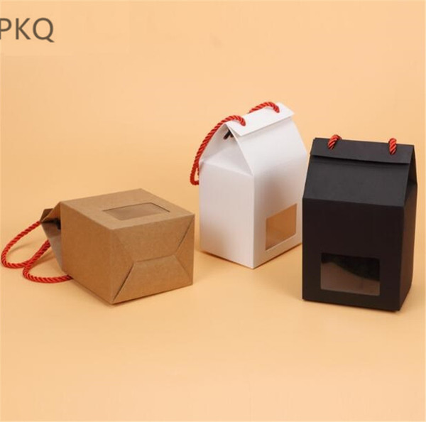 30pcs Small Kraft Paper Box for Muffin Packing Cupcake/Cake/Bread Packaging box White/Brown Cookie with Rope 10x8x16cm