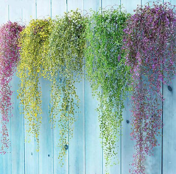 Renkli yapay çiçekler sarmaşıklar ipek asılı sarmaşık yaprağı bitki yaprakları ev bahçe duvar dekorasyon için plastik çiçekler düğün