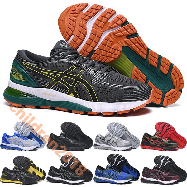 A Sics Gel Nimbus 21 For Men Marathon Running Shoes Brand 2019 Designer Fashion Gray Green Mens N21 Sports Sneakers Size 40.5-45
