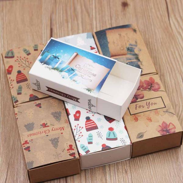 Lot başına 5 adet çok tasarım Merry christmas hediyeler paket slayt kutusu vintage kraft Diy El Yapımı teşekkür ederim şeker / düğün kutusu şekeri