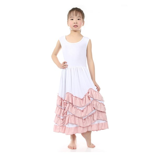Mais novos Meninas Sem Mangas Verão Princesa Vestidos Camisola Macia Vestido Longo Com Camadas De Babados Para Meninas