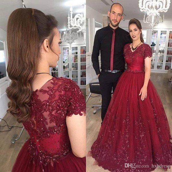 2019 High Quality Burgundy Dresses Evening Wear With Short Sleeves Appliqued Beaded Tulle A Line Prom Dresses Formal Pageant Party Dresses