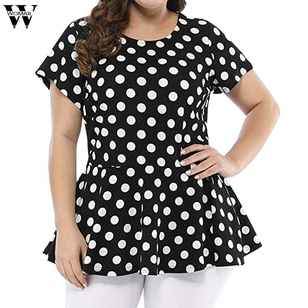 Womail T-Shirt Womens Fashion Plus Size Waist Short Sleeve Polka Dot Summer Top O-neck high waist point T-Shirt May24