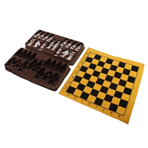 top popular Vintage Chess Folding Chess Board Chinese Terracotta Army Chess Pieces 2021