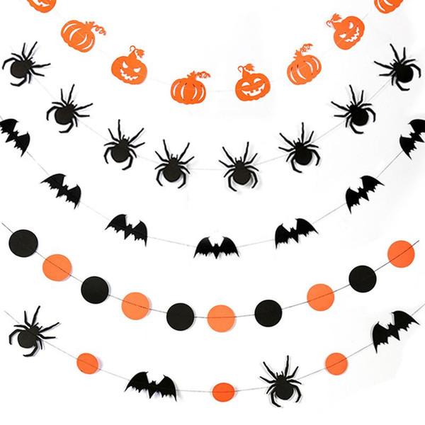 Halloween Party Decoration Banner Pumpkin Bat Spider Shape Wall Hanging Paper Garland Home Decoration Halloween Supplies VT0552