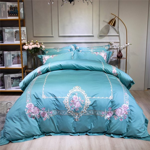 Oriental Embroidery Egyptian Cotton Bedding set king queen Bed sheet linen set Luxury Duvet cover set pillowcase