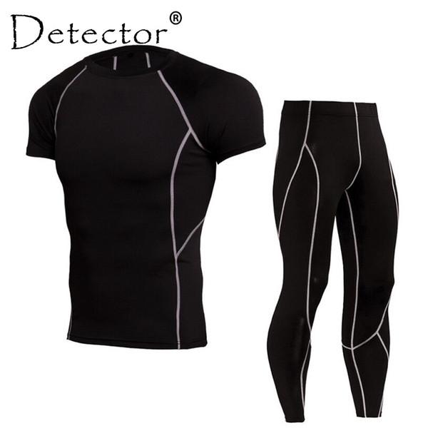 Detector Dos Homens Camisas Mangas Curtas Leggings Terno Do Esporte Camisa  de Compressão Calças Conjunto de 94443c2aac5ed