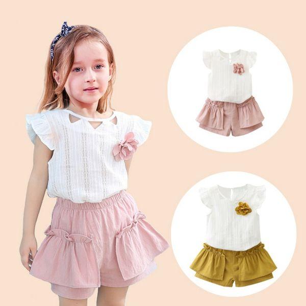 Summer Baby Girls Clothes Cute Flare Sleeve Solid Print T-shirt Tops + Shorts Trajes 2pcs Conjunto de ropa para niños