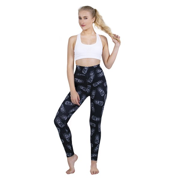 Women High Waist Leggings Sketchy Pineapple 3D Graphic Print Skinny Pencil Pants Lady Stretchy Trousers Girl Sportwear Pencil Fit (Y52336)