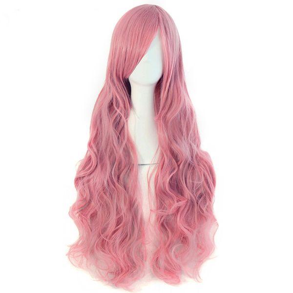 "MapofBeauty 32"" Long Wavy Cosplay Wigs Fake Bangs 29 Colors Pink Black Blue Brown Blonde Women Wig Heat Resistant Synthetic Hair"